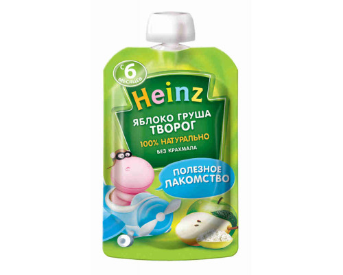 Пюре Heinz яблоко/груша/творог с 6мес 90г д/п