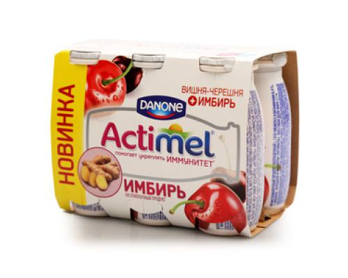 Напиток кисломолочный с вишней, черешней и имбирём 2,5% ТМ Actimel (Актимель), 6*100 мл