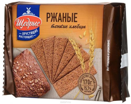 Хлебцы ТМ Щедрые, тонкие ржаные, 170 г