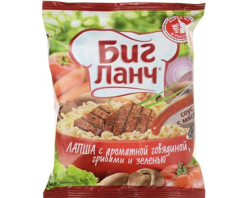 Лапша быстрого приготовления ТМ Биг Ланч , с ароматной говядиной, грибами и зеленью, 75 г