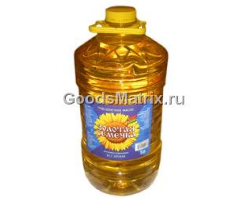 Масло подсолнечное ТМ Золотая семечка, рафинированное, дезодорированное, 5 л