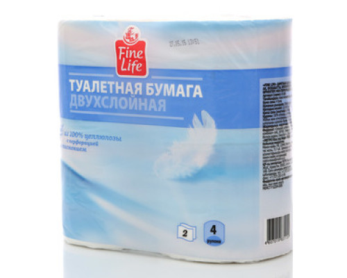 Туалетная бумага двухслойная ТМ Fine life (Файн Лайф), 4 рулона
