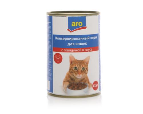 Корм для кошек консервированный с говядиной в соусе ТМ Aro (Аро)