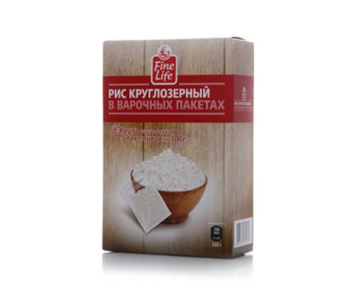 Рис круглозерный в варочных пакетах 5*100г ТМ Fine Life (Файн Лайф)