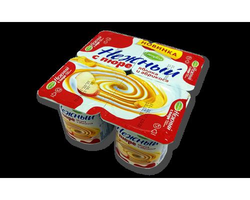 Йогурт ТМ Нежный с пюре, яблоко-абрикос, 0,1%, 100 г