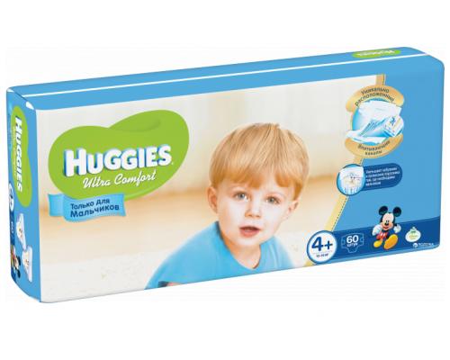 Подгузники для мальчиков ТМ Huggies (Хаггис) Ultra Comfort, 10-16 кг (размер 4+), 60 шт.