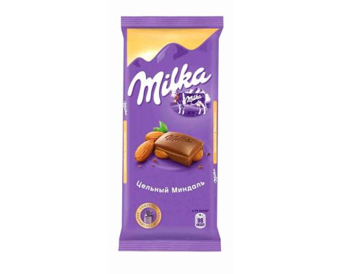 Шоколад Милка молочный цельный миндаль 90г