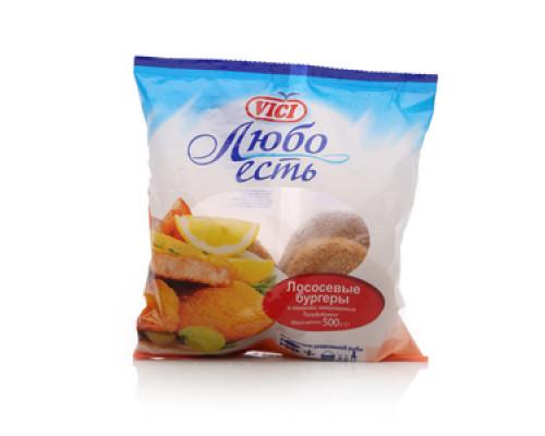 Лососевые бургеры в панировке замороженные полуфабрикат ТМ Vici (Вичи)