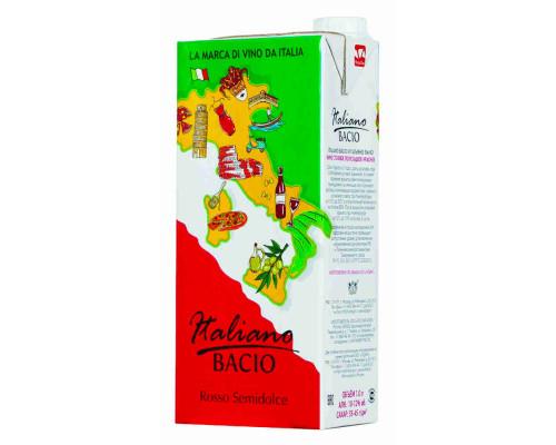 Вино ITALIANO BACIO столовое полусладкое красное 10,0-12,0%, 1 л