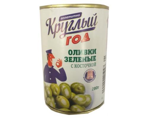 Оливки зелёные Круглый год 280г Аппетитно зелёные б/к
