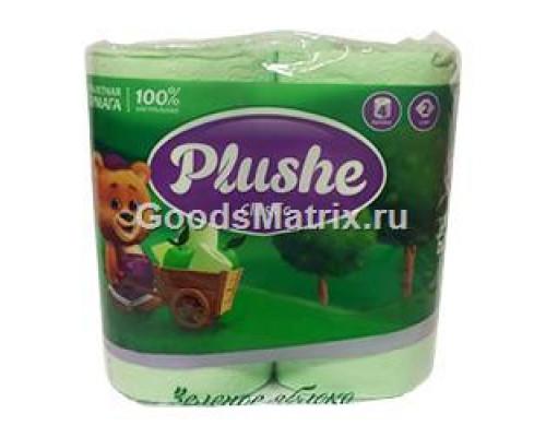Туалетная бумага ТМ Plushe Classic (Плюше Классик), зеленое яблоко, 2 слоя, 4 шт.