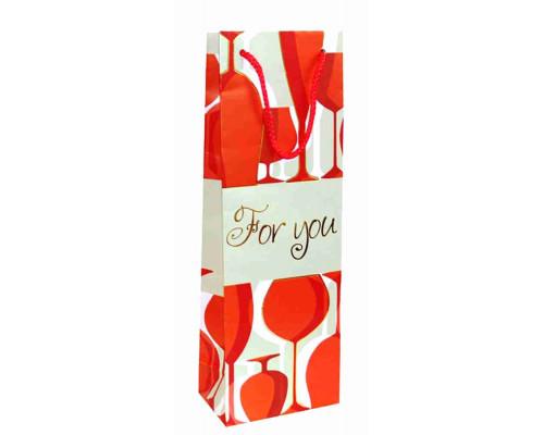 Пакет 36,2*12,3*7,8  декоративный ламинат под бутылку с тиснением Артикул СБТ16