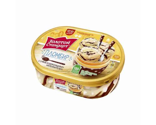 Мороженое пломбир Золотой Стандарт Зефир в шоколаде 475г ванна