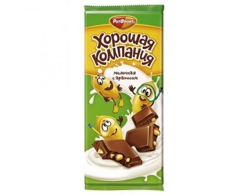 Плитка кондитерская Хорошая компания Молочная с арахисом, 80 г