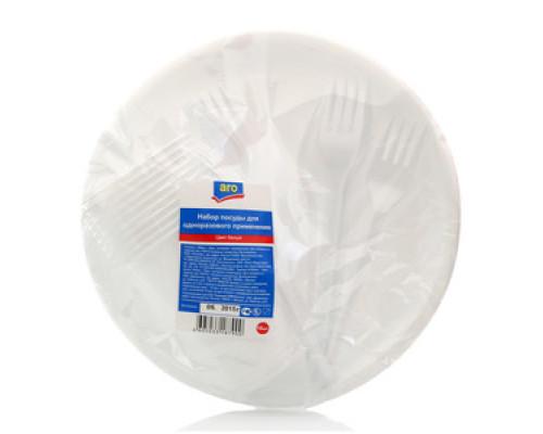 Набор посуды для одноразового применения цвет белый ТМ Aro (Аро)