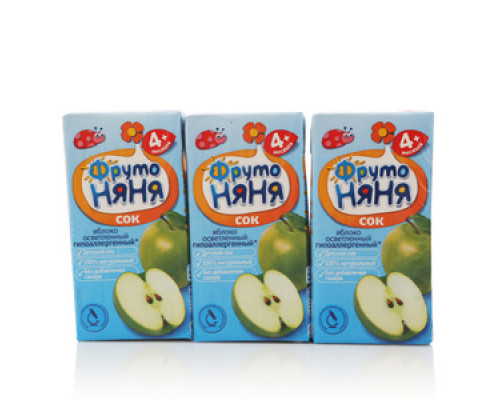 Сок из яблок осветлённый для питания детей с 4-х месяцев 3*200мл ТМ ФрутоНяня