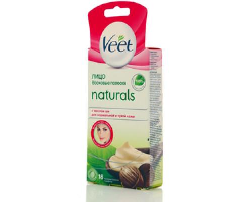 Восковые полоски с маслом ши для чувствительных участков тела (лицо), 18 восковых полосок, 4 салфетки TM Veet (Вит)