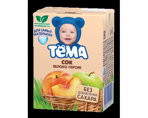 Сок ТМ Тема, яблочно-персиковый, 200 мл