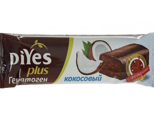 Гематоген ТМ DiYes (Диес) Plus Кокосовый с фруктозой, 35 г