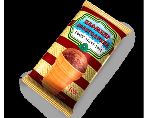 Мороженое Пломбир ТМ Вологодский, вафельный стаканчик, шоколадный, 100 г