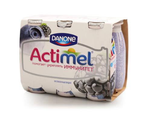 Кисломолочный продукт чернично-ежевичный Actimel (Актимель) 2,5% ТМ Danone (Данон), 6*100 г