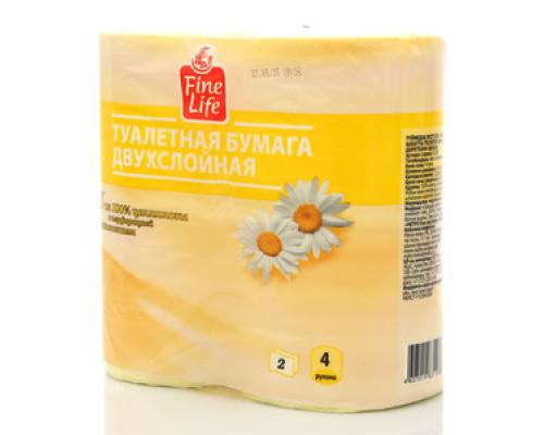Туалетная бумага двухслойная ароматизированная Ромашка ТМ Fine life (Файн Лайф), 4 рулона