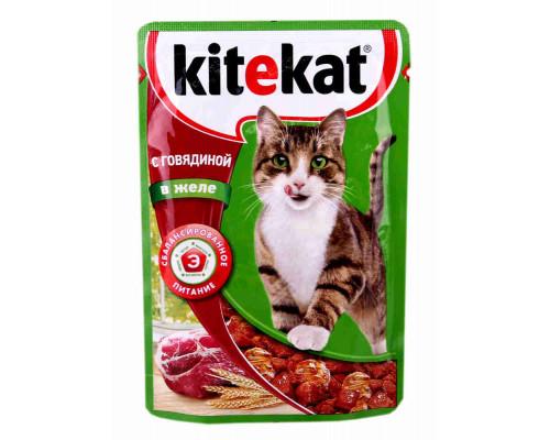 Корм Kitekat д/кошек говядина в желе 85г пауч