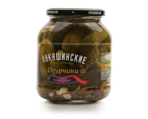 Огурчики ТМ Лукашинские маринады по-деревенски с хреном и смородиной, 670 г