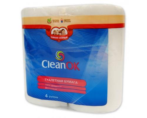 Туалетная бумага CleanOK, белая, двухслойная, 4 рулона