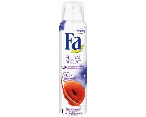 FA Дезодорант спрей жен Floral Protect Мак&Колокольчик 150мл