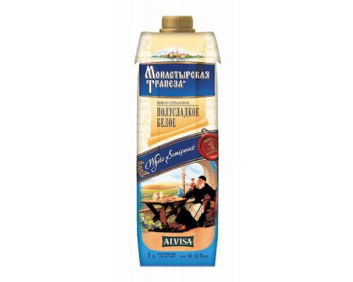 Вино Монастырская Трапеза бел. п/слад  столовое RD 1л. TetraPack алк.10-12%