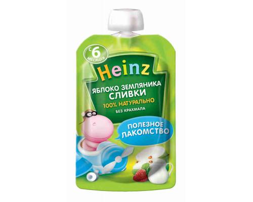 Пюре Heinz яблоко/земляника/сливки 90г пауч