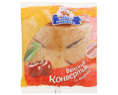 Слойка ТМ Мастер Пироговъ Венский конвертик с вишней, 70 г