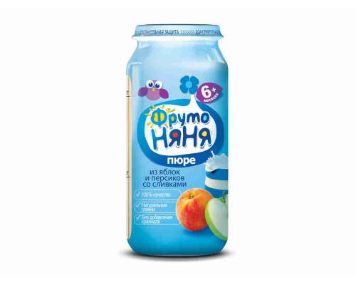 Пюре ФрутоНяня яблоко/персик/сливки с 6мес 250г ст/б