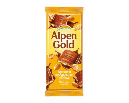 Шоколад молочный Alpen Gold арахис/кукурузные хлопья 90г