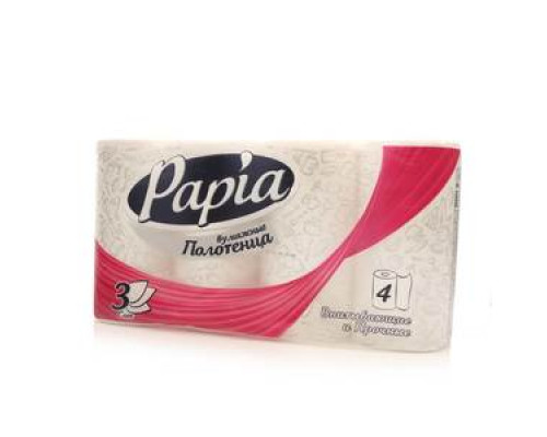 Полотенца бумажные ТМ Papia (Папиа), 4 рулона