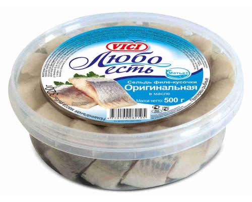 Сельдь филе-кусочки  в масле Оригинальная Любо есть 500г VICI