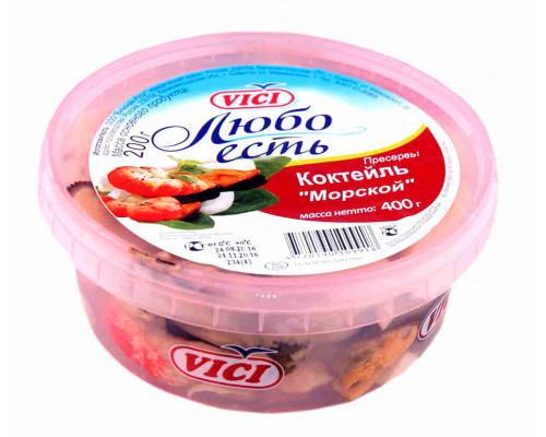 Коктейль из морепродуктов с креветками имитация в рассоле Морской VICI 400г