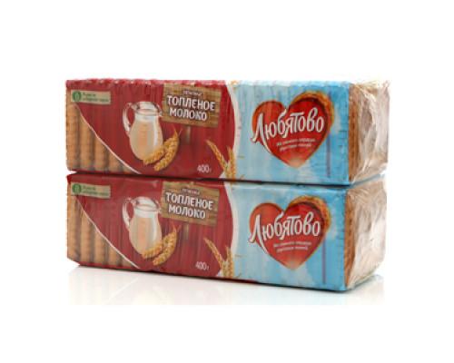 Печенье сахарное топленое молоко 2*400г ТМ Любятово