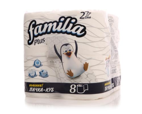 Туалетная бумага 2-слойная ТМ Familia (Фамилиа), 8 шт