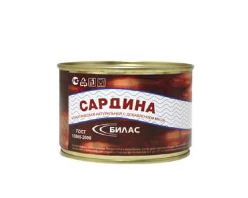 Сардина натуральная с добавлением масла ТМ Билас