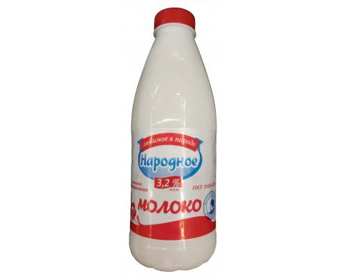 Молоко Народное пастеризованное ПЭТ 3.2% 0.9 л