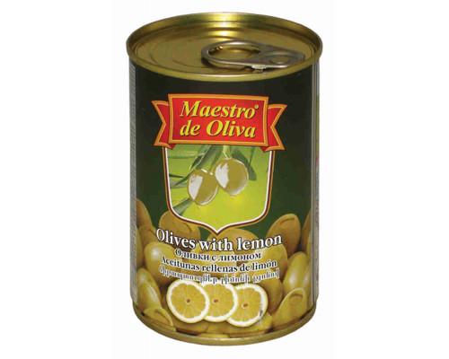Оливки Maestro de Oliva с лимоном 300г ж/б