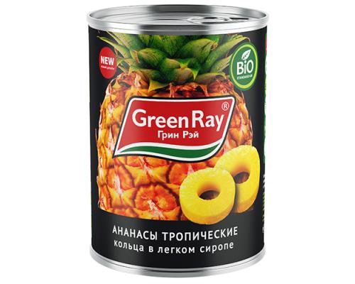 Ананасы Green Ray кольцами, тропические в легком сиропе, 580 мл
