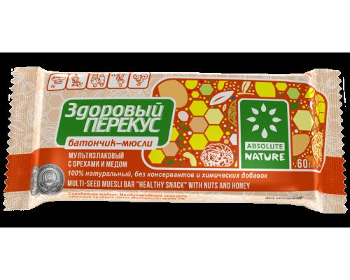 Батончик мюсли Здоровый перекус с орехами и медом, 60 г