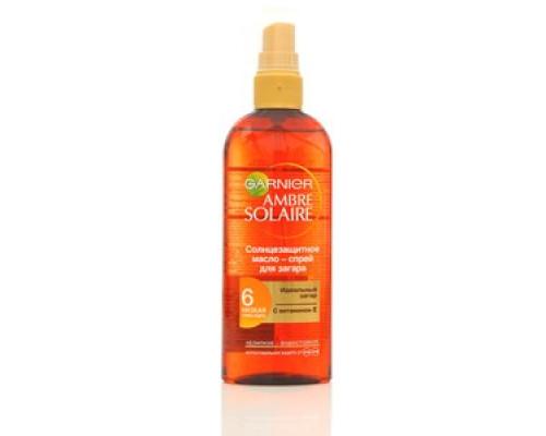 Солнце-защитное масло-спрей для загара Garnier Ambre Solaire для смуглой уже загорелой кожи (Гарньер Амбре Солер) ТМ Garnier