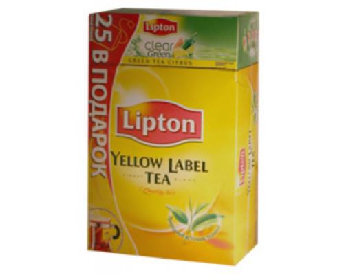 Набор Чай черный Lipton Yellow Label Tea + чай зеленый Citrus Green ТМ Lipton (Липтон), 100 пакетиков + 25 пакетиков