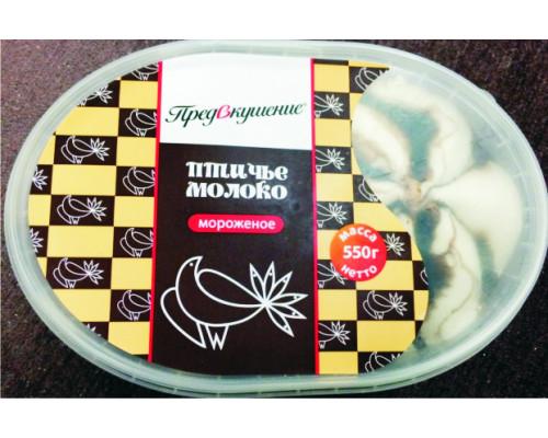 Мороженое пломбир Птичье молоко Предвкушение с шоколадным топингом, 550 г