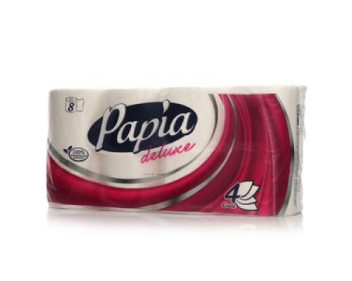 Туалетная бумага четырёхслойная TM Papia (Папия), 8 рулонов