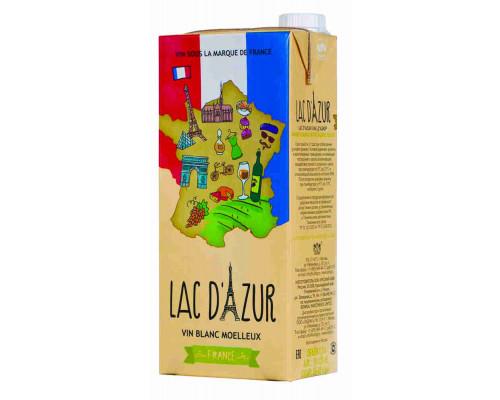 Вино LAC D` AZUR столовое полусладкое белое 10-12%, 1л